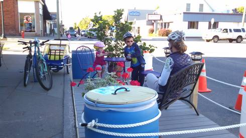 Third Street in Marquette, Mich., now features this low-cost, temporary parklet.