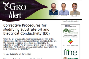 The e-GRO Alert 7.2, which established corrective procedures for low or high substrate pH or soluble salts, referred to as electrical conductivity (EC).