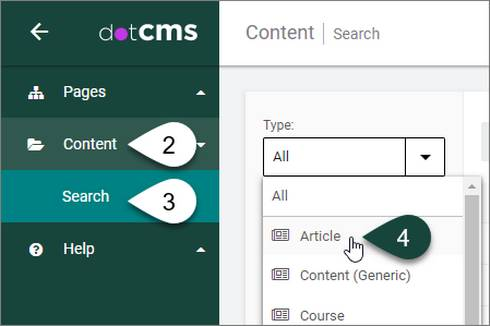 How to navigate from the Content dashboard in dotCMS and select for the Article content type.