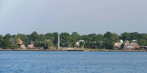 Skyline of St. Clair as seen across the St. Clair River, in St. Clair County, Mich. Photo courtesy of Wikimedia Commons user P199.