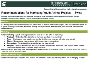Recommendations for Marketing Youth Animal Projects – Swine