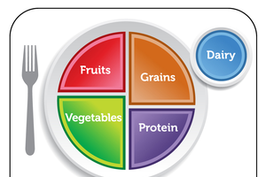 "MyPlate, or perhaps commonly known as the ""new food guide pyramid,"" are examples of how the guidelines influence USDA nutrition icons."