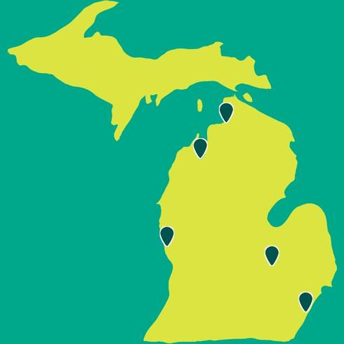 FoodCorps service site locations in Michigan.