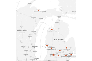 Map of Michigan Food Hubs