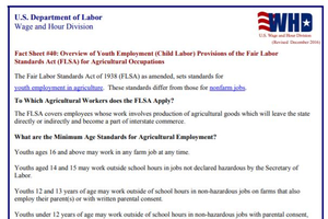 Fact Sheet #40: Overview of Youth Employment (Child Labor) Provisions of the Fair Labor Standards Act (FLSA) for Agricultural Occupations