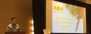 "Keynote speaker, John Mallett (Bell's Brewery), discusses ""Quality and Values in Beer and Brewing Raw Materials"" at the 3rd annual Great Lakes Hop & Barley Conference in Detroit, MI. Photo credit: Rob Sirrine"