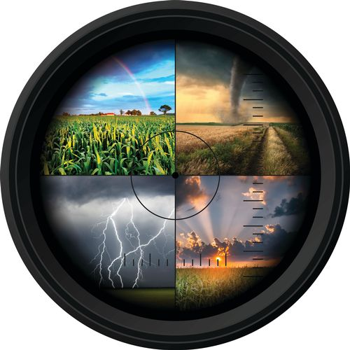 Camera lens with four different weather panels.