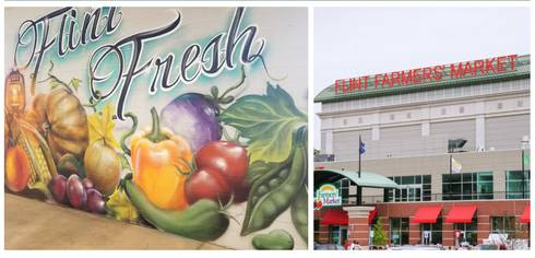 Image of Flint food mural and the Flint Farmers Market.