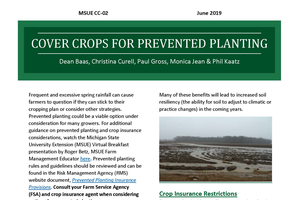 Prevented planting acres and cover crops