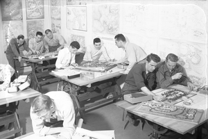 Old photo of landscape architecture students working in class at Michigan State University, year unknown. Photo courtesy of MSU University Archives & Historical Collections.