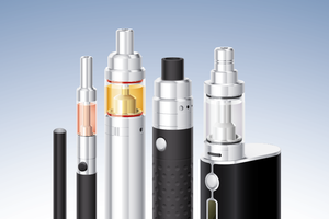 Graphic of multiple kinds of vape pens and e-cigarettes.