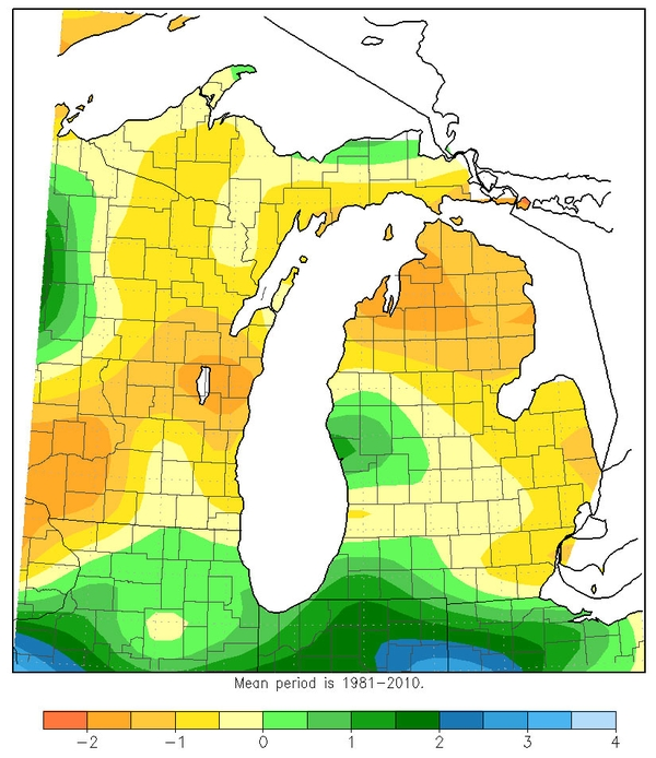 Accumulated precipitation in inches, June 29-July 28, 2015. Northeast Michigan has been drier than normal over the last month. Figure by Michigan State Climatologist's Office