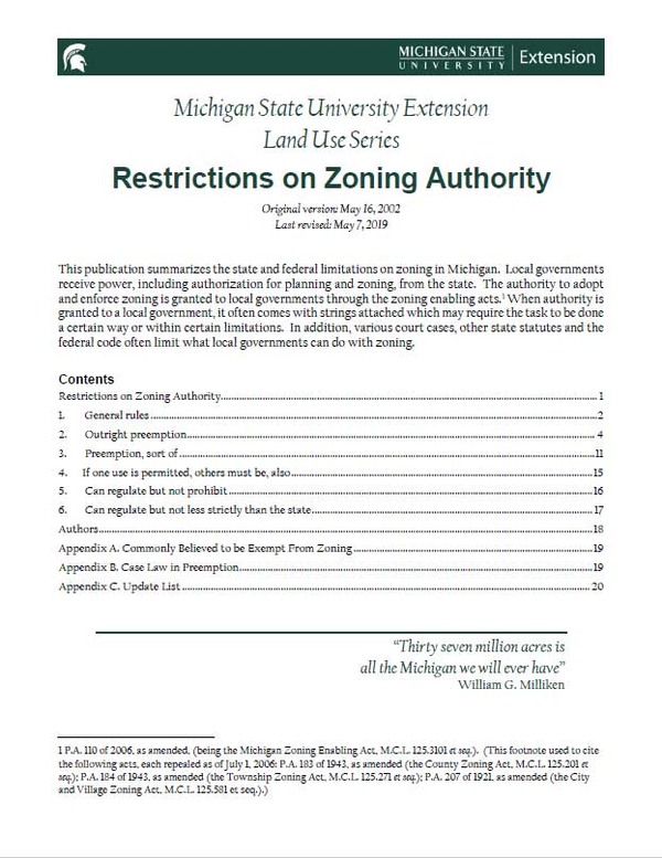 Restrictions on Zoning Authority cover