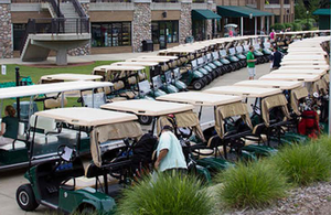 Photo of golf carts lined up and ready at Forest Akers Golf Course.