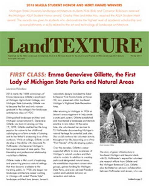 Front Cover of the LandTEXTURE newsletter, Winter 2017.