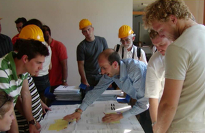 Photo of Construction Management students receiving instruction.