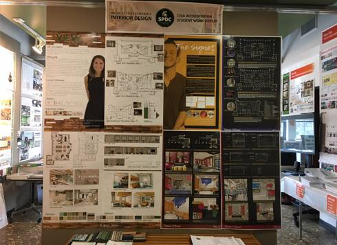 Photo showing a multitude of Interior Design Program Student Work boards.
