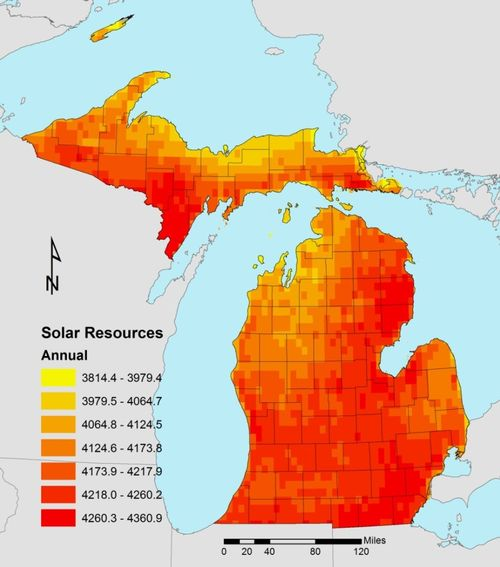 Annual average daily solar resource in watt-hours per square meter per day (Wh/m2/day). Photo credit: National Renewable Energy Laboratory and MSU Land Policy Institute