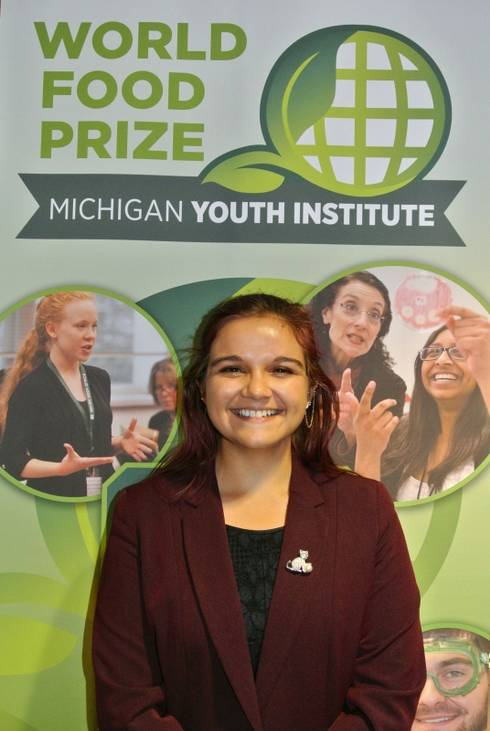 Student Mackenzie Good at Youth World Food Prize.