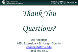 The end slide asking if anyone has questions.