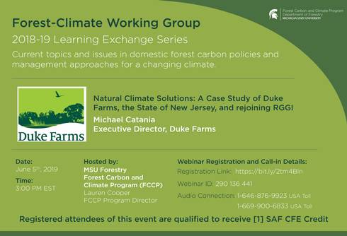 Forest Climate Working Group flyer for June 5 webinar