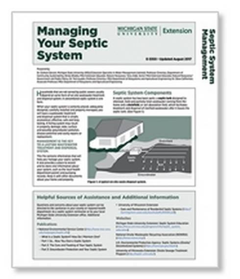 Image of managing your septic system cover.