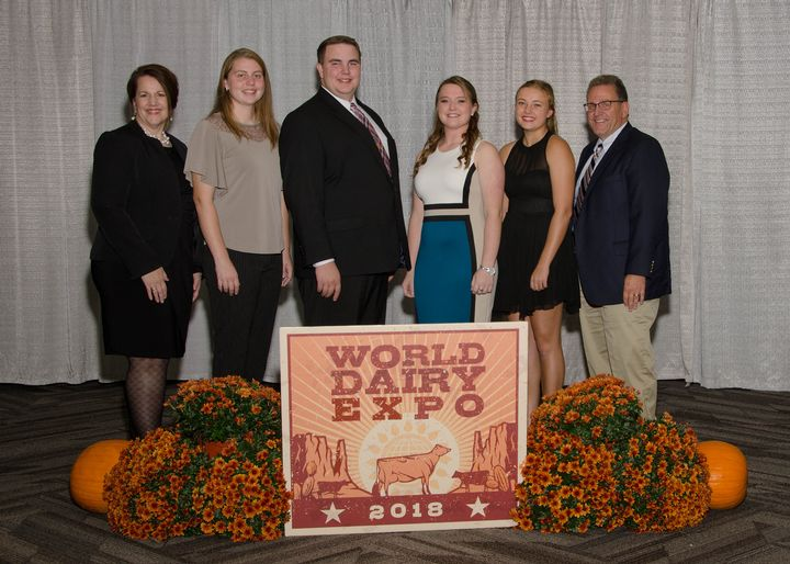 2018 Michigan 4-H Dairy Cattle Judging Team at World Dairy Expo (from left) Coach Sarah Black, Miriam Cook, Ian Black, Jessica Nash, Caitie Theisen, Coach Joe Domecq.