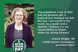CANR Alumni Association president-elect provides Give Green Day matching gift