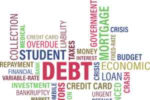 A scramble of words, creating word art. The largest word is debt.