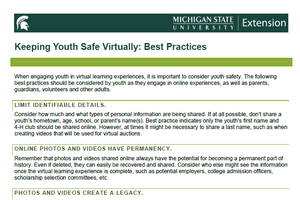 Thumbnail of Keeping Youth Safe Virtually: Best Practices document.