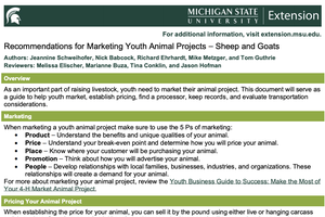 Recommendations for Marketing Youth Animal Projects – Sheep and Goats
