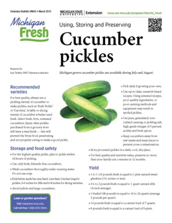 Michigan Fresh: Using, Storing, and Preserving Cucumber
