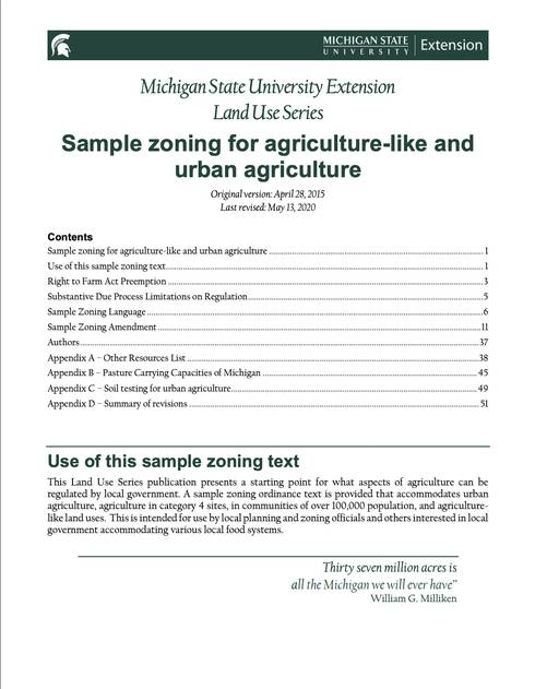 The front page of the Sample Zoning for Agriculture-like and Urban Agriculture document.