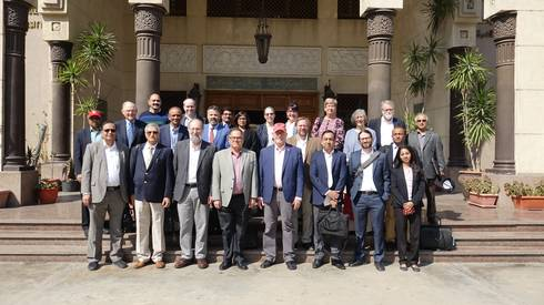 Representatives from U.S. and Egyptian universities pose for a picture during the launch of the Center of Excellence in Agriculture.