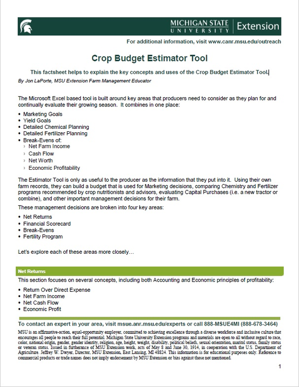 This image shows the front cover of the Crop Budget Estimator Tool factsheet.