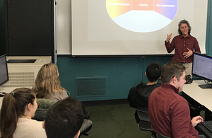 Holly Madill guest lecturing in an Urban & Regional Planning methods class.