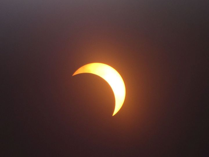 Photo 1. Partial solar eclipse Aug. 21, 2017, at Southfield, Michigan. Photo courtesy of R.J. Jones, Victoria Kwao, and Cheryl Carvery-Jones.