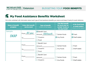 Budgeting Your Benefits Worksheet