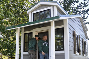 Sparty's Cabin during MSU football tailgating