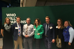 SEMCOG received a Key Partner award from MSU Extension. From left, Heather Triezenberg (Sea Grant), SEMCOG's Kevin Vettraino, Bill Parkus, Amy Mangus, Tyler Klifman, Devan Rostorfer, and Extension educator Mary Bohling. Photo: Cindy Hudson | Sea Grant