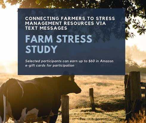 A graphic of a cow and some text talking about farm stress and resources to help