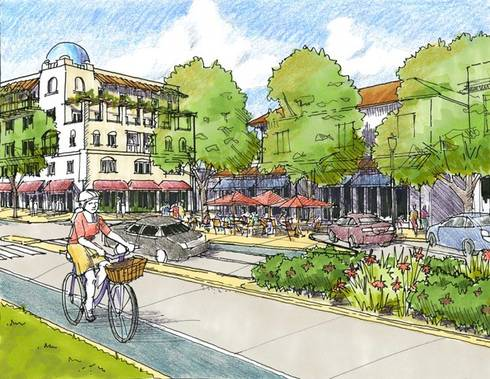 Final design of Campus Corner in Norman, OK, with stepped-back, five-story building, and three-lane Boyd Street with bike lanes.