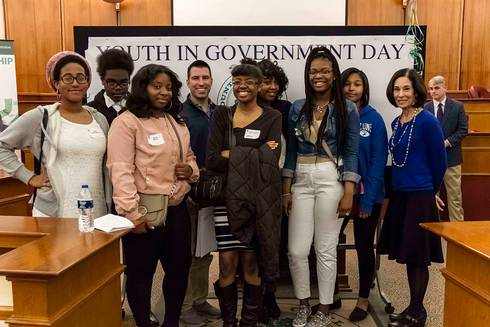 Oak Park students at Oakland County Youth in Government Day pictured with Commissioner Helaine Zack. Photo by Oakland County Government.