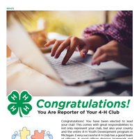 The first page of the document for 4-H Reporter