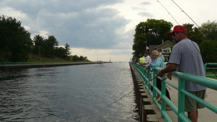 Anglers line up on the Pentwater pier to target the overlooked and under-appreciated freshwater drum.