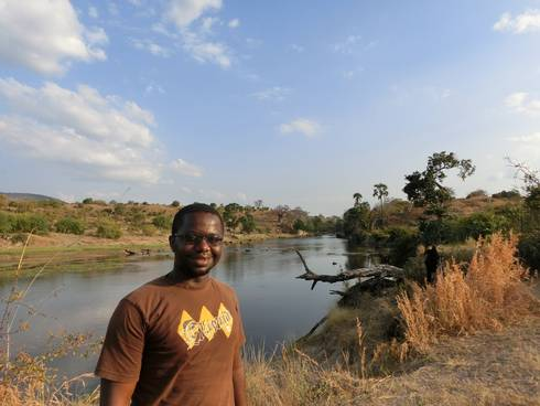 Michigan State University graduate student Arthur Muneza in Ruaha National Park in Tanzania