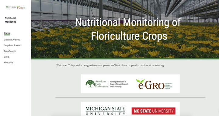 Figure 1. The collaborative group of greenhouse and floriculture specialists and educators, e-GRO, launched a Nutritional Monitoring of Floriculture Crops website.