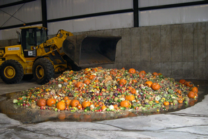 Discarded fruits and vegetables used to produce biogas in a high-solids anaerobic digester. The biogas is burned to generate electricity. Photo credit: M. Charles Gould.