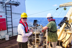 June Teisan (left) is on deck the Oregon II during her Teacher at Sea program with NOAA. Courtesy photo
