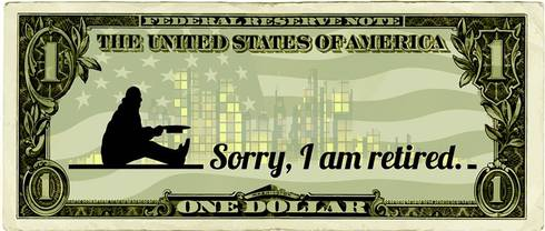 A one dollar bill with a guy sitting saying